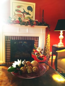 Festive Fireplace Centerpiece
